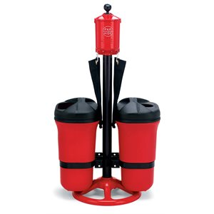 Master Ball Washer Ensemble w / Dbl Trash Mate and Spike Brush, Red